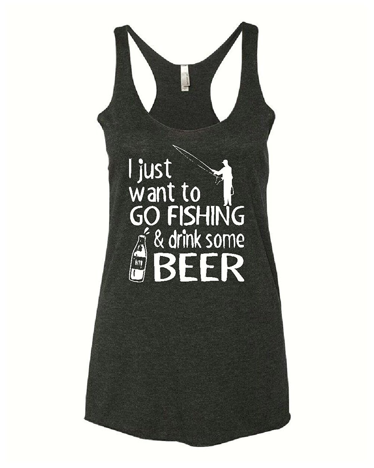 Fishing and beer funny fishing tank top womens gray for Fishing tank top